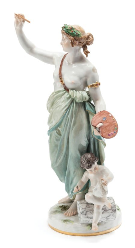 62146: A MEISSEN PORCELAIN FIGURAL GROUP: MUSE Late 19t
