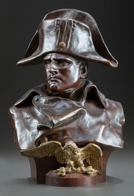 62634: A FRENCH PATINATED BRONZE BUST OF NAPOLEON ORIGI