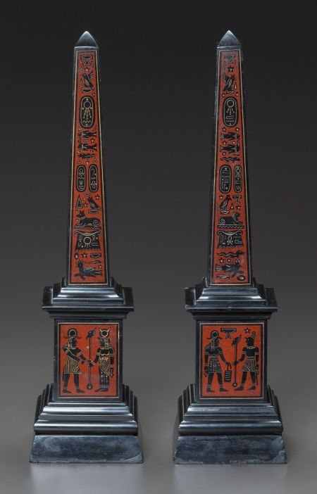 62638: A PAIR OF EGYPTIAN-STYLE MARBLE OBELISKS 20th ce