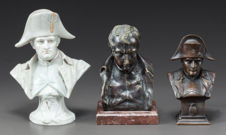 62643: ONE PORCELAIN AND TWO PATINATED BRONZE BUSTS OF