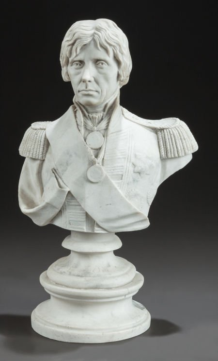 62650: A MARBLE BUST OF ADMIRAL HORATIO NELSON 20th cen