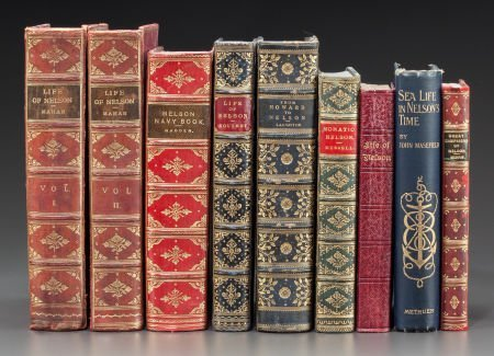 62651: LEATHER BINDINGS: NINE VOLUMES ON ADMIRAL NELSON