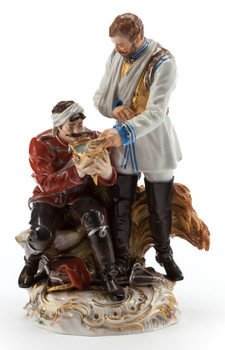 62681: A MEISSEN PORCELAIN FIGURAL GROUP: SOLDIERS Late