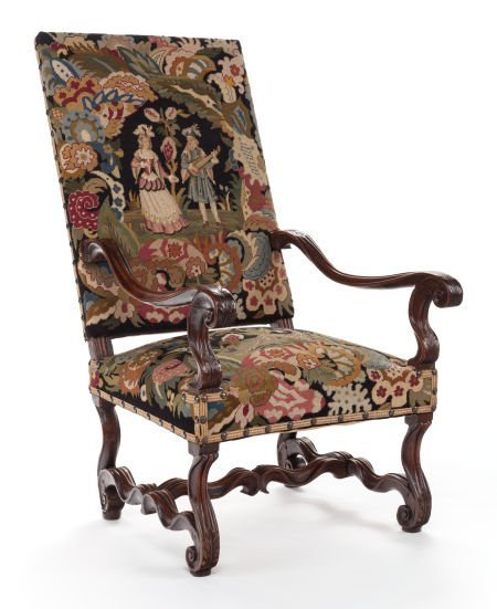 63381: A CONTINENTAL BAROQUE-STYLE OPEN ARMCHAIR WITH N