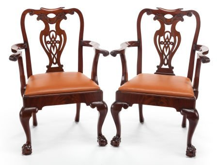 63382: A PAIR OF GEORGE III-STYLE MAHOGANY ARMCHAIRS 20