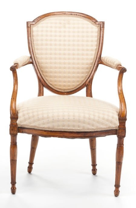 63391: A LOUIS XVI-STYLE FRUITWOOD OPEN ARMCHAIR  Early