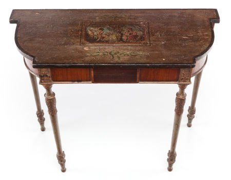 63393: A GEORGE III-STYLE CARVED SATINWOOD, PAINTED AND