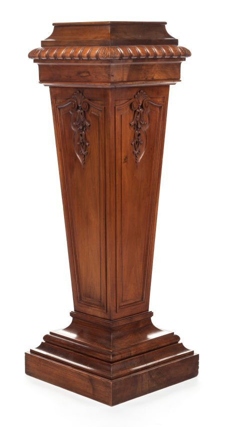 63397: A VICTORIAN CARVED MAHOGANY NEOCLASSICAL PEDESTA