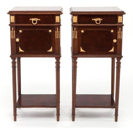 63398: A PAIR OF MAHOGANY MARQUETRY AND GILT BRONZE MOU
