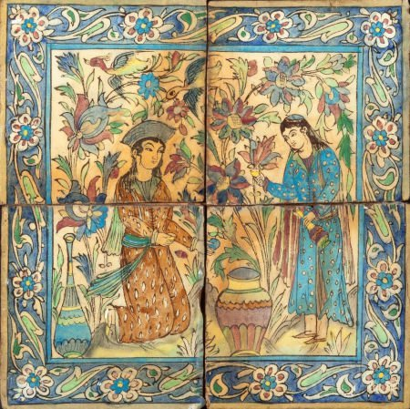 63399: A FOUR-TILE PERSIAN PANEL 19th century 18-5/8 in