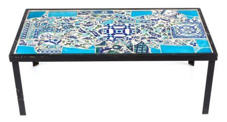 63401: AN IZNIK-STYLE TILE TOP AND PAINTED METAL TABLE