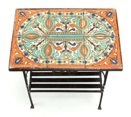 63402: A SPANISH-STYLE PAINTED IRON TILE-TOP SIDE TABLE
