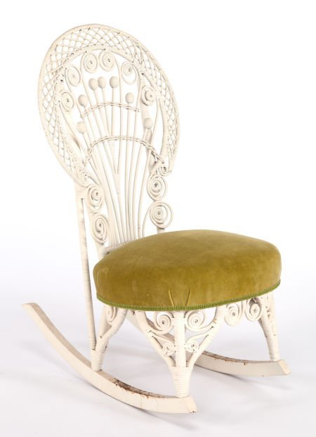 63403: AN AMERICAN PAINTED AND UPHOLSTERED WICKER ROCKI