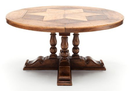 63405: A PROVINCIAL OAK CENTER TABLE WITH STAR INLAID T