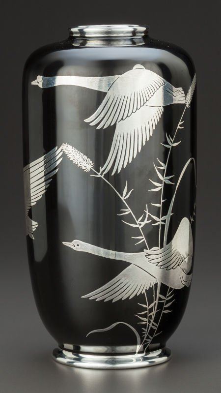 63657: A ROSENTHAL PORCELAIN AND SILVER OVERLAY VASE  R