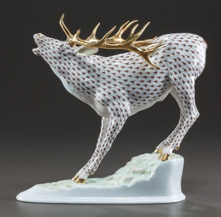 63534: A HEREND PAINTED PORCELAIN STAG FIGURE 20th cent