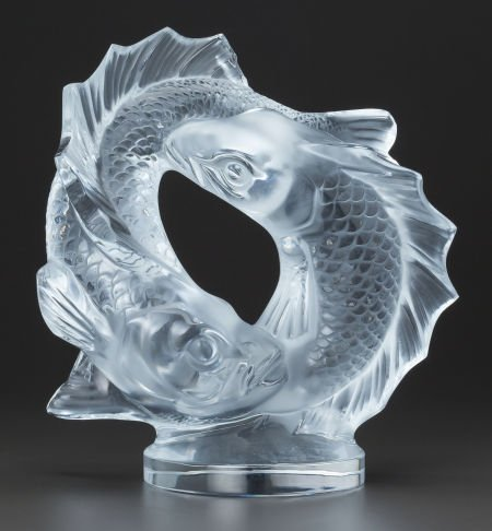 63706: A LALIQUE CLEAR AND FROSTED GLASS DEUX POISSONS
