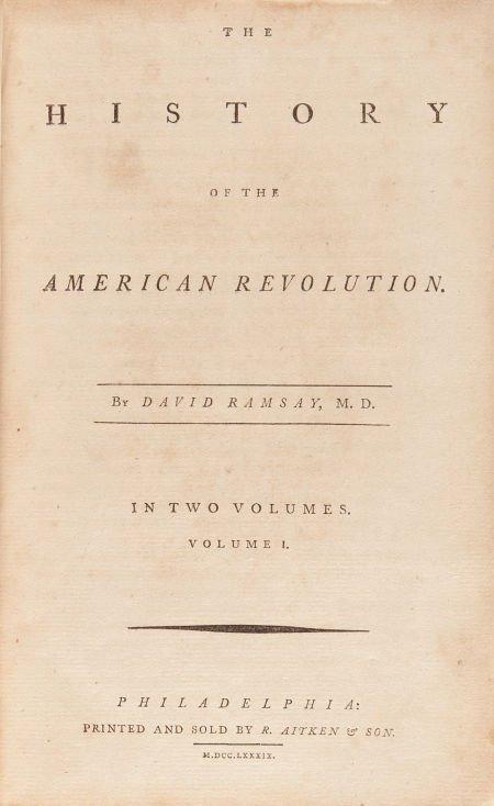 36023: David Ramsay. The History of the American Revolu