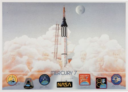 40013: Mercury Seven Astronauts: Limited Edition Lithog