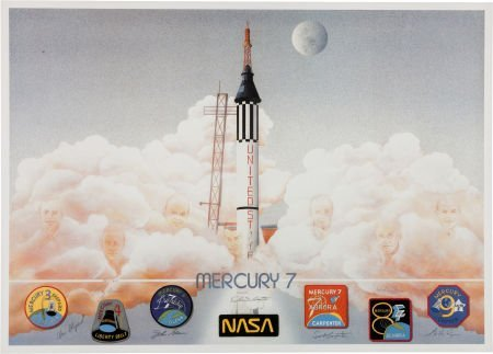 40014: Mercury Seven Astronauts: Limited Edition Lithog