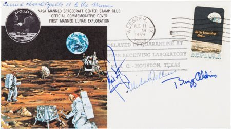 40160: Apollo 11 Flown Crew-Signed Commemorative Cover,