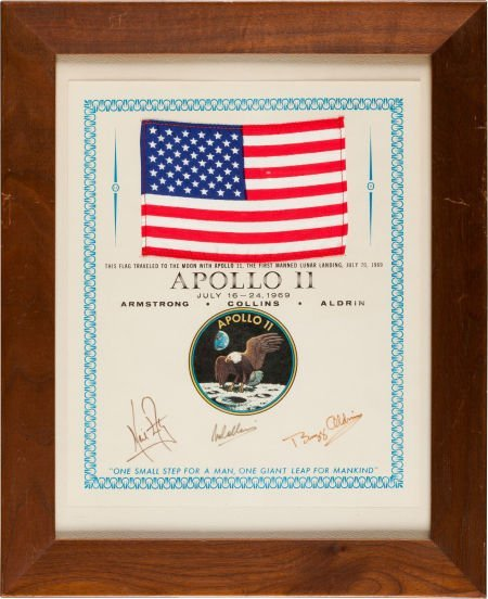 40161: Apollo 11 Flown American Flag on a Crew-Signed P
