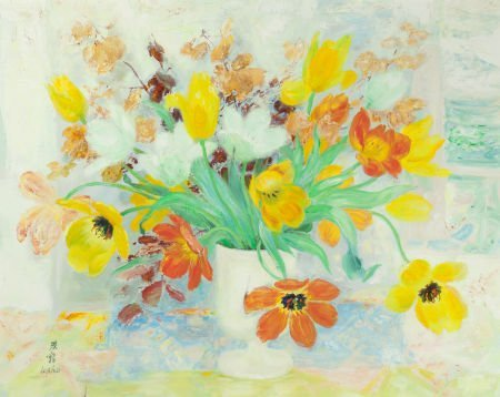 64020: LE PHO (French, 1907-2001) Fleurs Oil on canvas