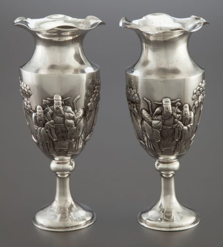 68005: A PAIR OF CHINESE EXPORT SILVER VASES  Canton ma