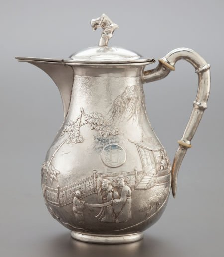 68010: A TUCK CHANG CHINESE EXPORT SILVER COFFEE POT Tu