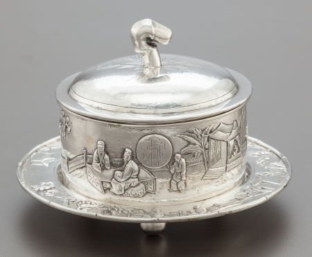 68011: A TUCK CHANG CHINESE EXPORT SILVER LIDDED BUTTER
