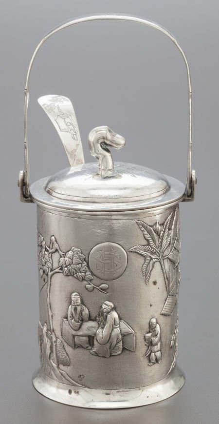 68012: A TUCK CHANG CHINESE EXPORT SILVER CONSERVE POT