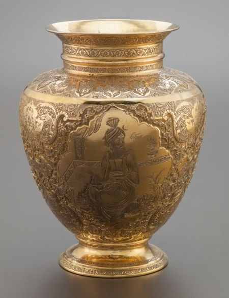68019: A PERSIAN SILVER GILT VASE ATTRIBUTED TO VARTAN