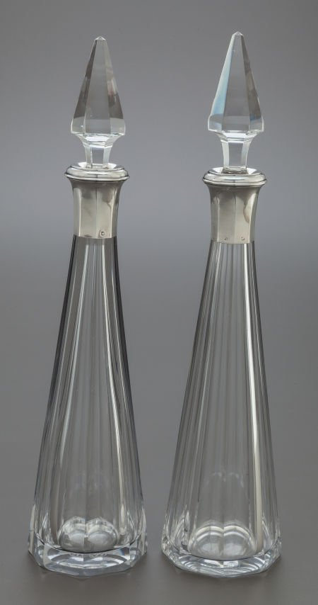 68023: A PAIR OF BACCARAT FRENCH CUT GLASS AND SILVER M