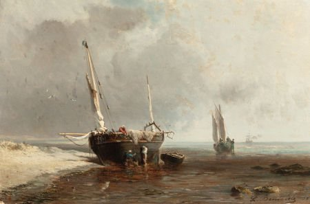 63014: LOUIS BENTABOLE (French, 1820-1880) Fishing Boat