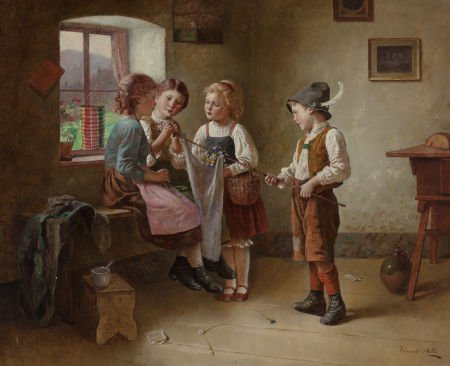 63020: EDMUND ADLER (German, 1871-1957) Four Children P