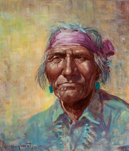 70012: OLAF WIEGHORST (American, 1899-1988) Old Navajo