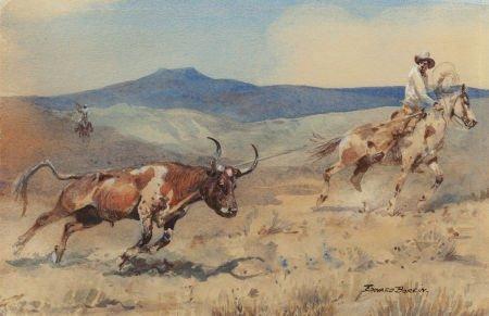 70017: EDWARD BOREIN (American, 1873-1945) Ropin' Steer