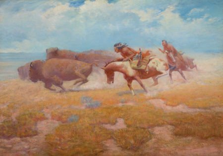 70022: M. LONE WOLF (American, 1882-1970) Indian Buffal