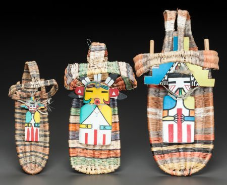 50019: THREE HOPI POLYCHROME TWINED WICKER TOY CRADLES