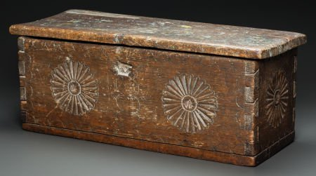 50020: A NEW MEXICAN CARVED WOOD CHEST c. 1800