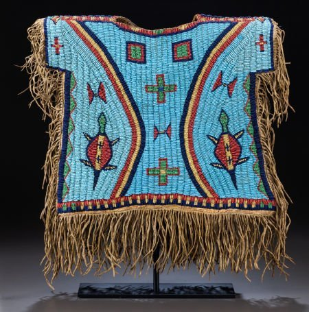 50265: A SIOUX BOY'S PICTORIAL BEADED AND FRINGED HIDE