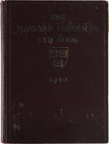 38003: John F. Kennedy: Harvard Freshman Red Book 1940.