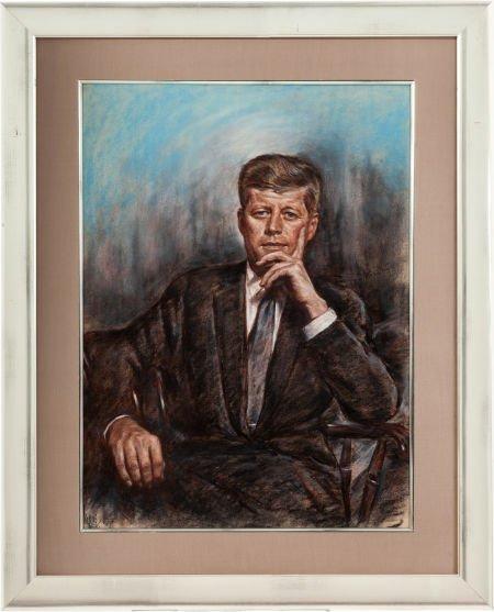 38396: John F. Kennedy: A Beautiful Pastel Portrait, Do