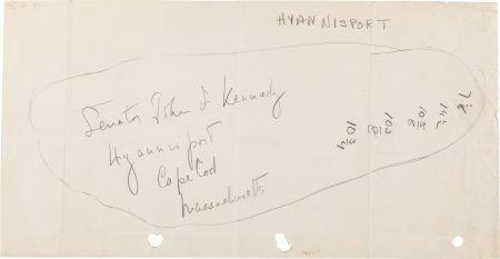 38014: John F. Kennedy: Outline of JFK's Feet Inscribed