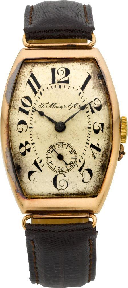 61007: Moser & Co. Vintage Gold Wristwatch, circa 1915