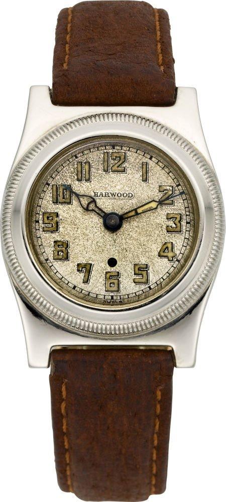 61008: Harwood Rare 14K White Gold Patented Self Windin