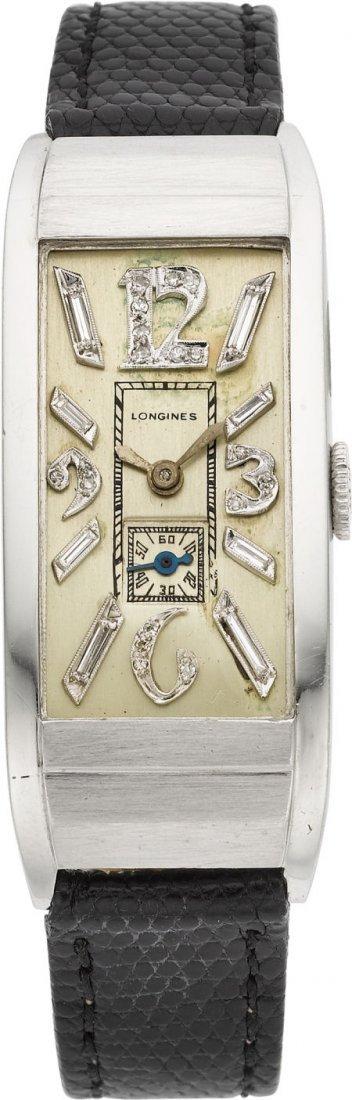 61009: Longines Platinum Wristwatch With Diamond Dial,