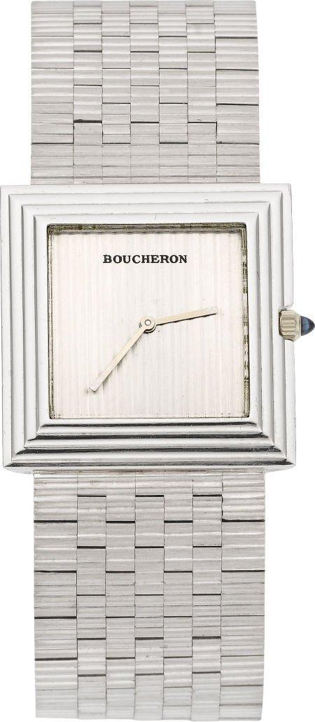 61010: Boucheron 18k White Gold Bracelet Watch