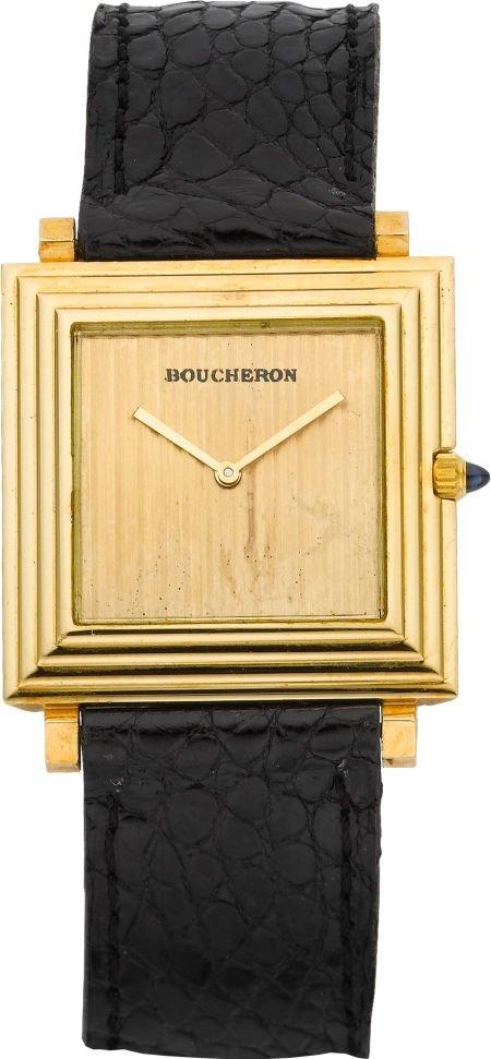 61011: Boucheron 18k Gold Ultra Thin Wristwatch