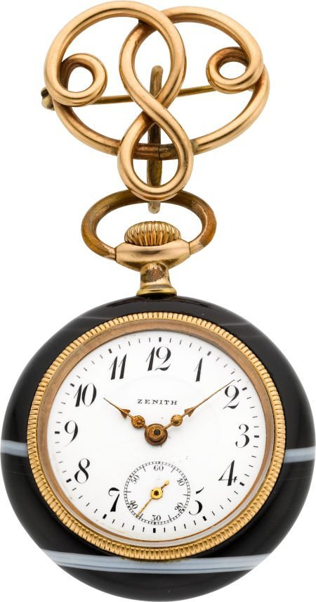 61019: Zenith Agate Pocket Watch With Gold Pin, circa 1